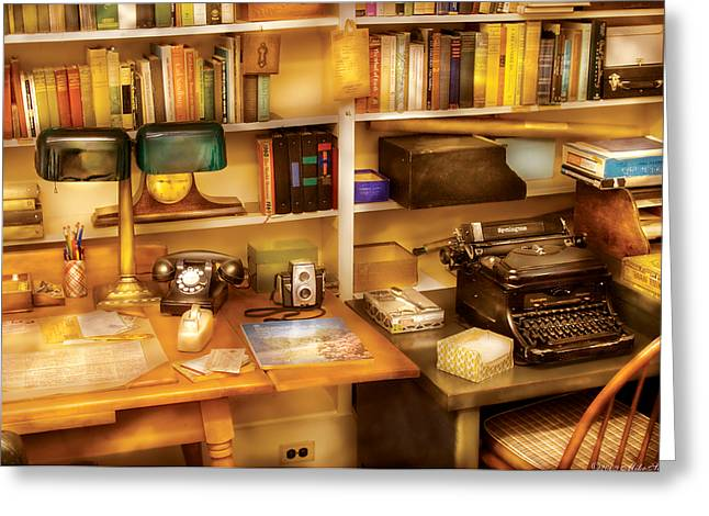Cluttered Greeting Cards - Writer - The desk of a writer  Greeting Card by Mike Savad
