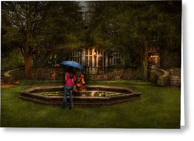 Storm Lovers Art Greeting Cards - Writer - Wating for him  Greeting Card by Mike Savad