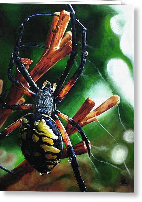Spider Paintings Greeting Cards - Writers Block Greeting Card by Cara Bevan