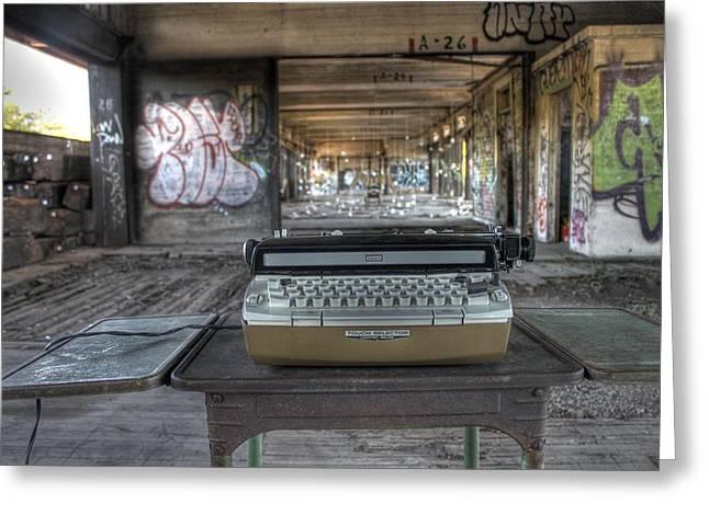 Antique Typewriter Greeting Cards - Writers Block Greeting Card by Jane Linders