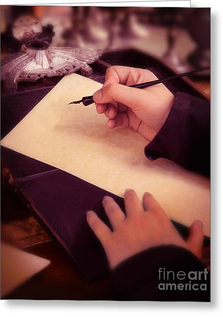 Historical Documents Greeting Cards - Writing a Letter in Times Past Greeting Card by Jill Battaglia