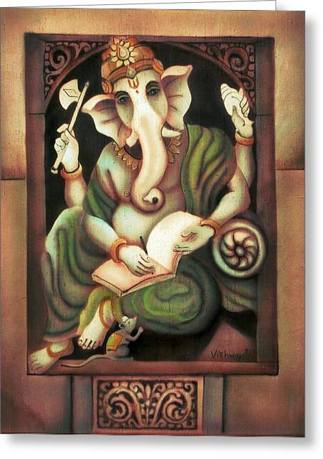 Vishwajyoti Mohrhoff Greeting Cards - Writing Ganesh Greeting Card by Vishwajyoti Mohrhoff