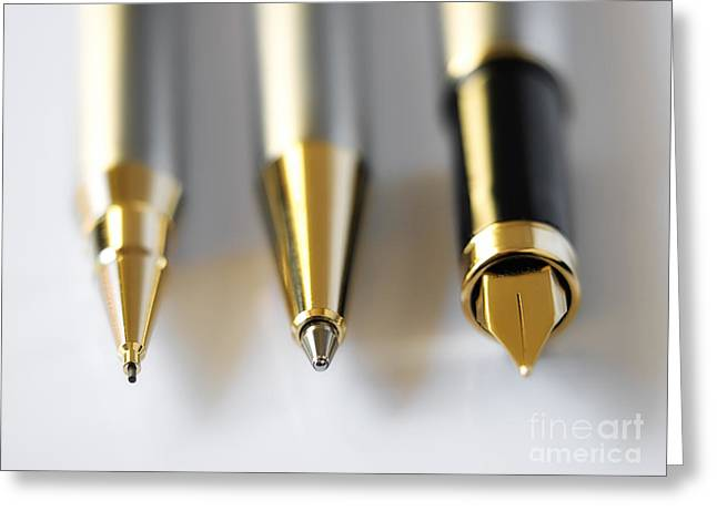 Technical Photographs Greeting Cards - Writing instruments Greeting Card by Sinisa Botas