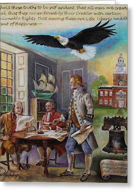 Declaration Of Independence Paintings Greeting Cards - Writing the Declaration of Independence Greeting Card by Jan Mecklenburg