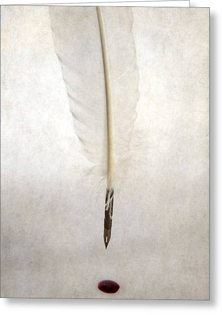 Feather Pen Greeting Cards - Writing With Blood Greeting Card by Joana Kruse