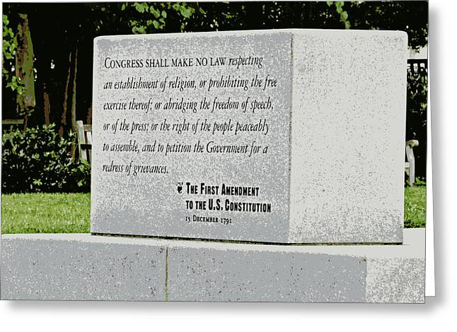First Amendment Greeting Cards - Written In Stone Greeting Card by Jean Doepkens Wright