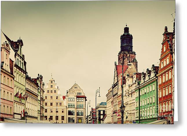 Polish Old Town Greeting Cards - Wroclaw Poland in Silesia region The market square Greeting Card by Michal Bednarek