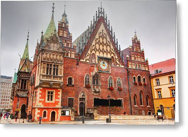 Polish Culture Greeting Cards - Wroclaw Poland The Town Hall on market square Greeting Card by Michal Bednarek