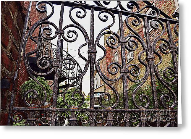 Indiana Flowers Greeting Cards - Wrought Iron Garden Patio Greeting Card by Amy Lucid