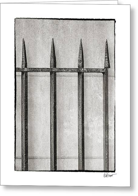 Brenda Bryant Greeting Cards - Wrought Iron Gate In Black And White Greeting Card by Brenda Bryant