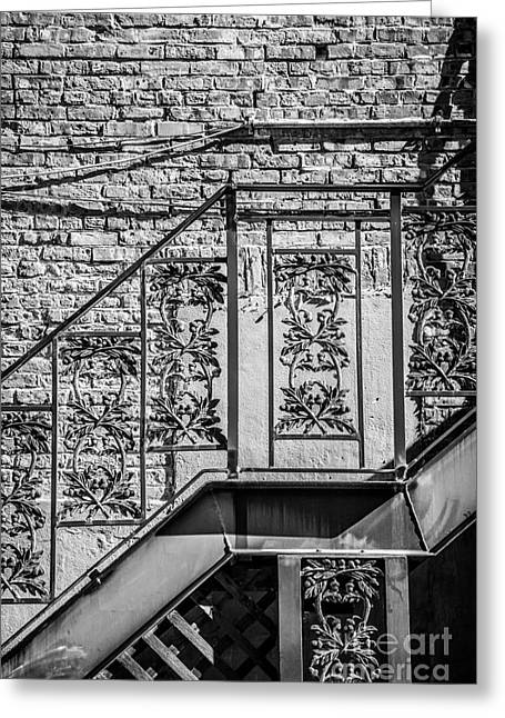 Liberal Greeting Cards - Wrought Iron Staircase Key West - Black and White Greeting Card by Ian Monk