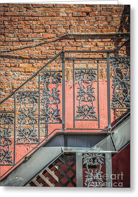 Liberal Greeting Cards - Wrought Iron Staircase Key West - HDR Style Greeting Card by Ian Monk