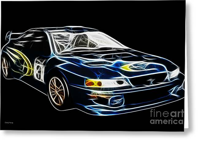 Neon Art Greeting Cards - Wrx 2 Greeting Card by Cheryl Young