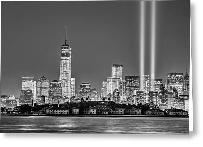 September 11 Wtc Greeting Cards - WTC Tribute In Lights BW Greeting Card by Susan Candelario