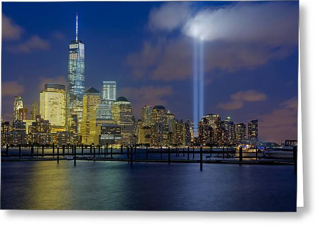 Terrorist Greeting Cards - WTC Tribute In Lights NYC 1 Greeting Card by Susan Candelario