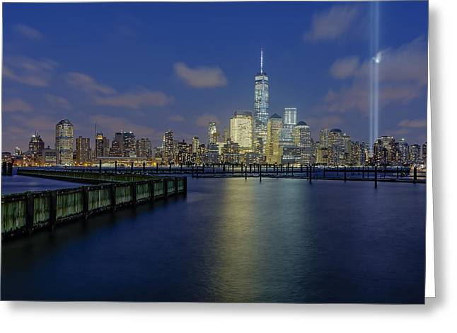 Wtc 11 Greeting Cards - WTC Tribute In Lights NYC 2 Greeting Card by Susan Candelario