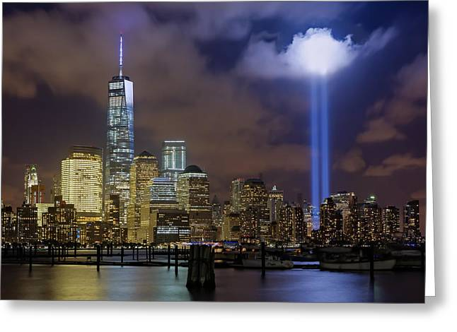Wtc Tribute In Lights Nyc Greeting Card by Susan Candelario