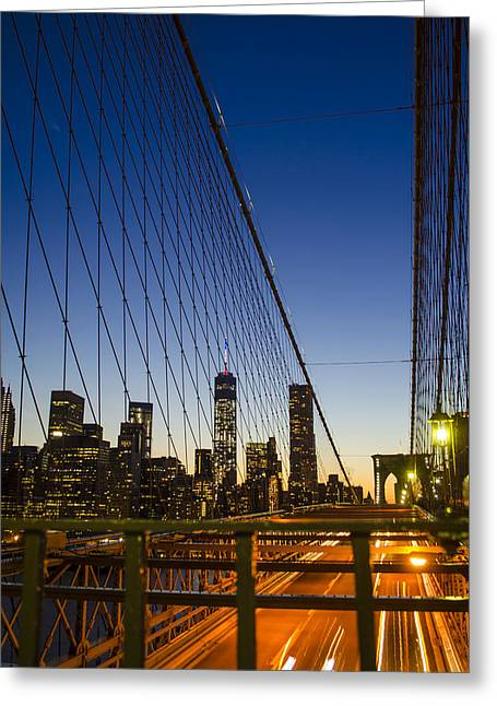 4th July Photographs Greeting Cards - WTC1 from Brooklyn Bridge Greeting Card by GeeLeesa Productions