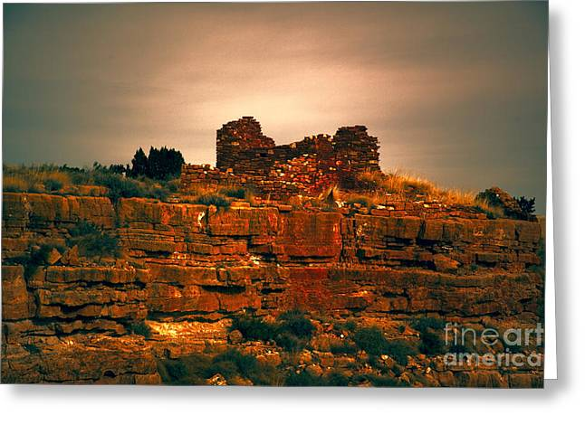 San Francisco Peaks Greeting Cards - Wupatki National Monument-Ruins V13 Greeting Card by Douglas Barnard