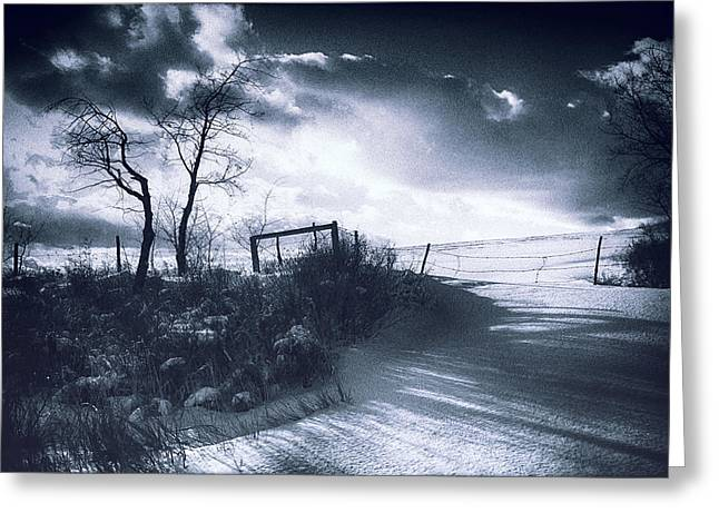 Gothic Romance Greeting Cards - Wuthering Heights Snowscape Greeting Card by Theresa Tahara