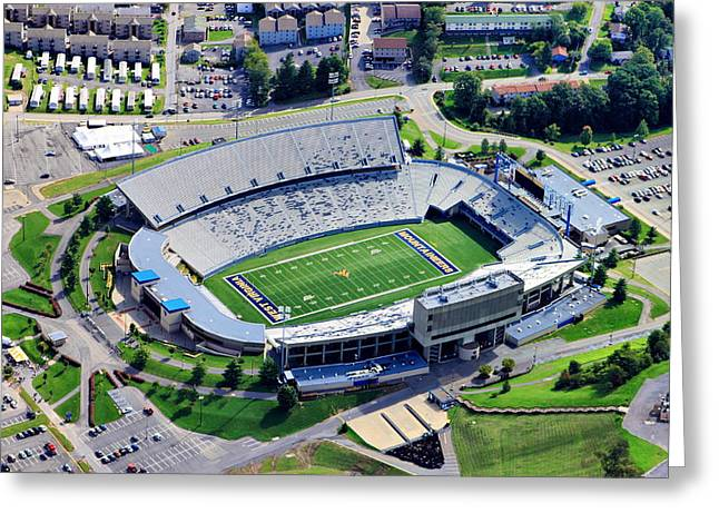 Wvu Mountaineer Stadium Aerial Greeting Card by Mattucci Photography