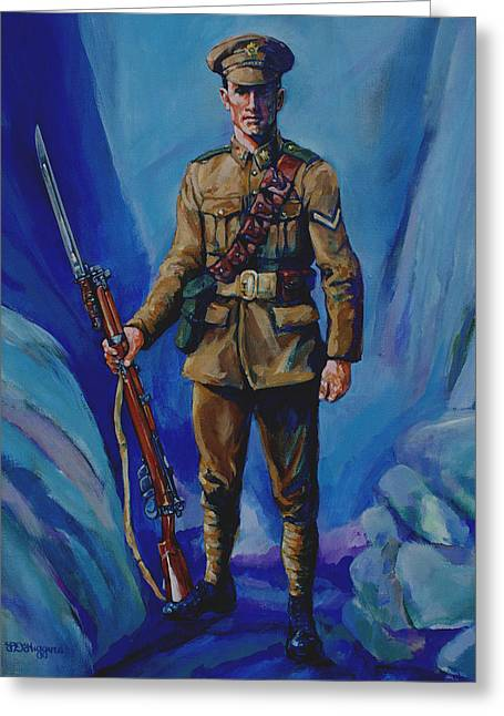 Bayonet Paintings Greeting Cards - WW 1 Soldier Greeting Card by Derrick Higgins