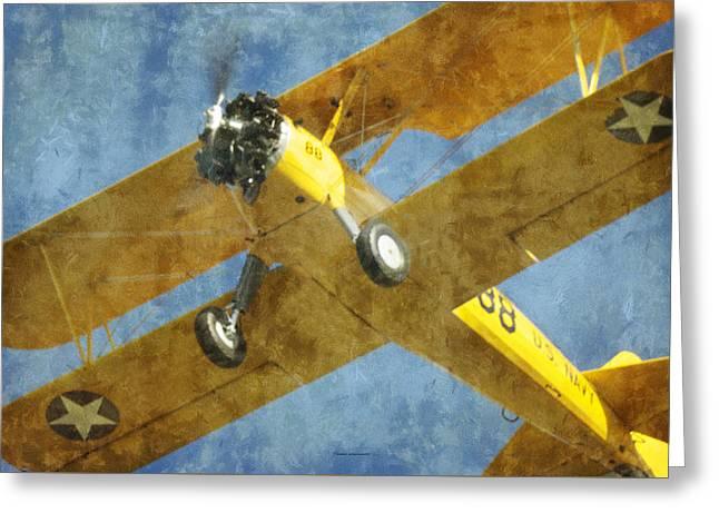 Jet Star Greeting Cards - Stearman Trainer Bi Plane Greeting Card by Thomas Woolworth