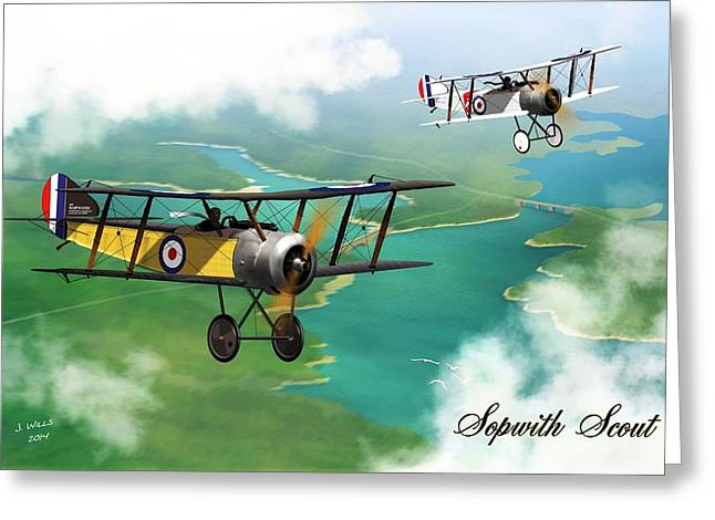 Ww1 Greeting Cards - WW1 British Sopwith Scout Greeting Card by John Wills