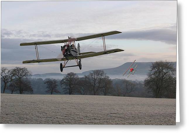 Triplane Greeting Cards - WW1 - Catch me if you can Greeting Card by Pat Speirs