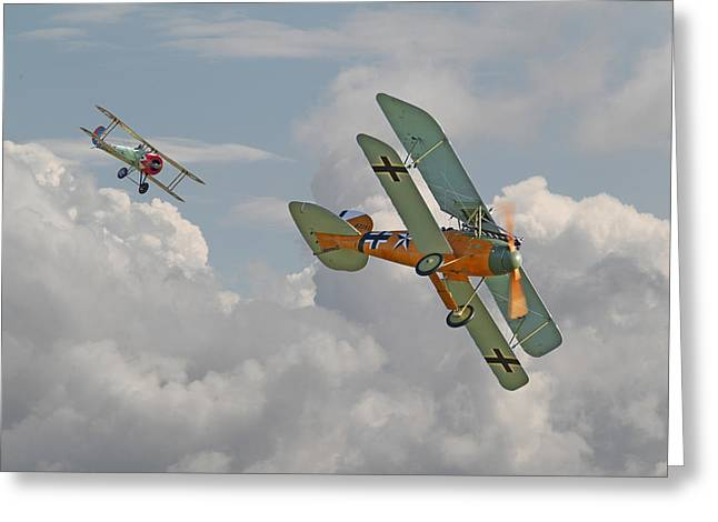 Biplane Greeting Cards - WW1 - Fighting Colours Greeting Card by Pat Speirs