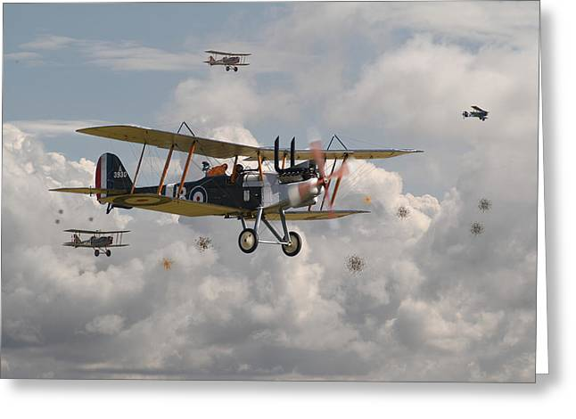 Biplane Greeting Cards - WW1 RE8 Aircraft Greeting Card by Pat Speirs