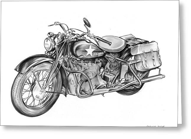 Ww2 Military Motorcycle Greeting Card by Greg Joens