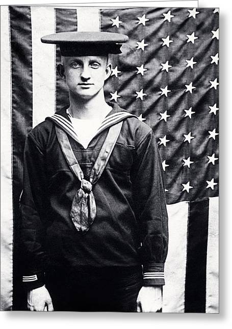 Wwi Greeting Cards - WWI American Navy Sailor Greeting Card by Historic Image