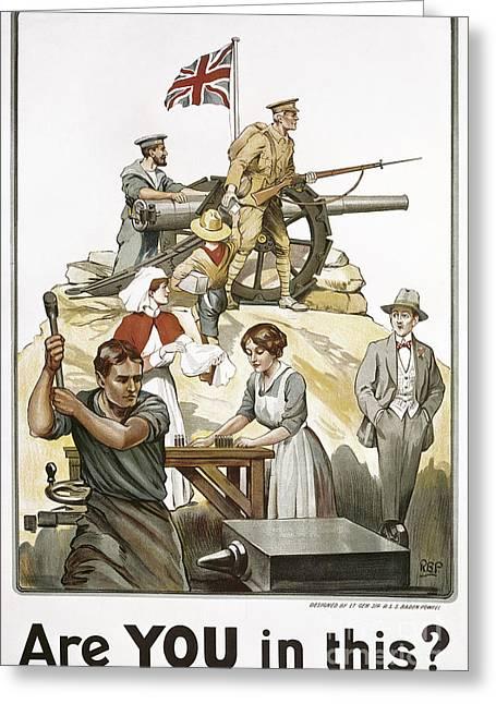 """war Women"" Greeting Cards - Wwi: British Poster Greeting Card by Granger"