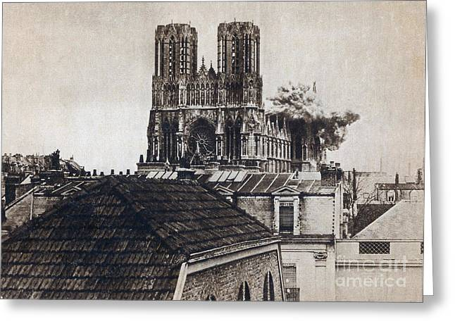 First-lady Greeting Cards - Wwi, Direct Hit, Reims Cathedral, 1914 Greeting Card by Photo Researchers