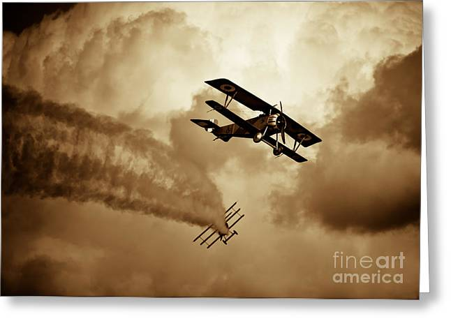 Wwi Greeting Cards - WWI Dog Fight Greeting Card by Rastislav Margus