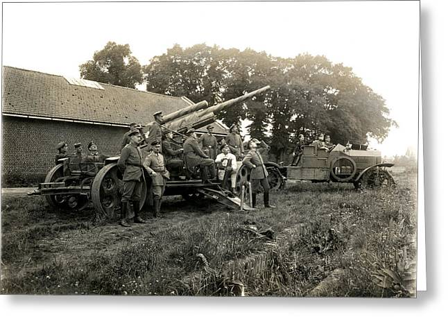 Wwi Greeting Cards - WWI German Anti Aircraft Gun Greeting Card by Historic Image