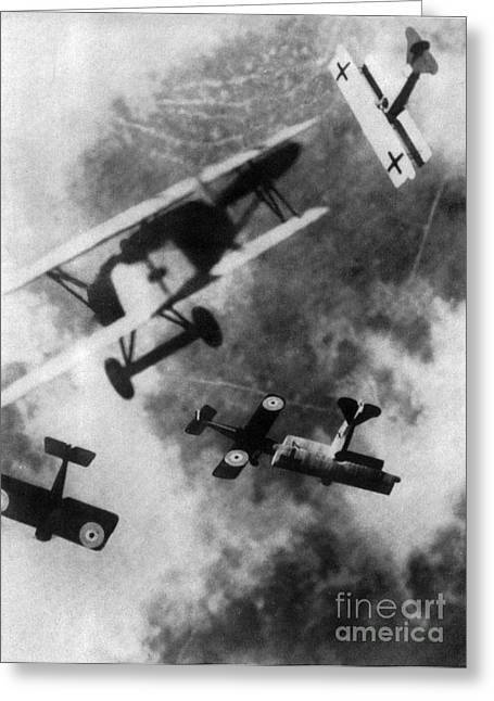 Wwi Greeting Cards - WWI German British Dogfight Greeting Card by Nypl