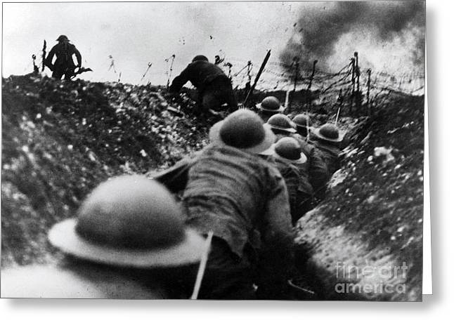 Wwi Over The Top Trench Warfare Greeting Card by Photo Researchers