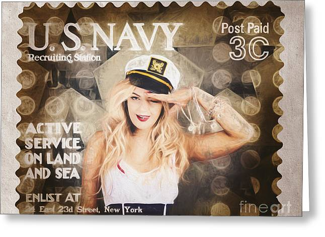 4th July Greeting Cards - WWI recruiting postage stamp. Navy sailor girl Greeting Card by Ryan Jorgensen