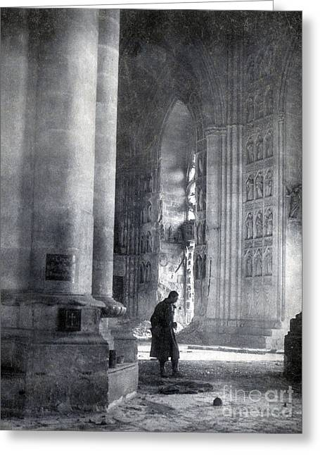 First-lady Greeting Cards - Wwi, Reims Cathedral Greeting Card by Photo Researchers