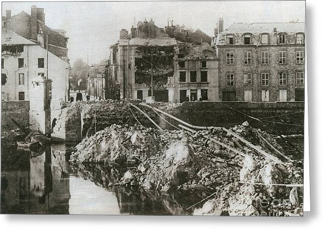 Western Front Greeting Cards - Wwi, Scorched Earth Policy, Mézières Greeting Card by Photo Researchers