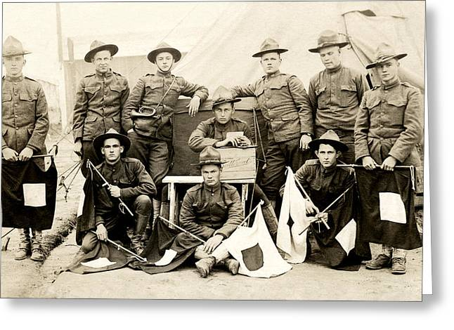 Doughboy Photographs Greeting Cards - WWI US Army Signal Corps Greeting Card by Historic Image