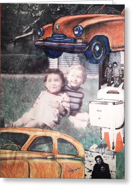 Little Boy Mixed Media Greeting Cards - WWll Americana Part Ill Greeting Card by Mary Fanning