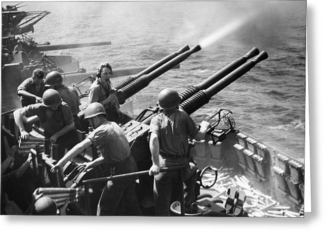Anti-aircraft Greeting Cards - Wwii: Anti-aircraft Guns Greeting Card by Granger