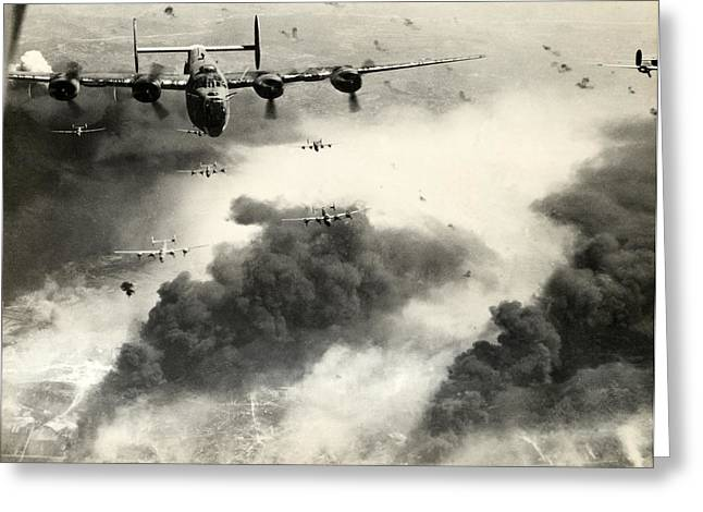 Air Raids Greeting Cards - WWII B-24 Liberators over Ploesti Greeting Card by Historic Image