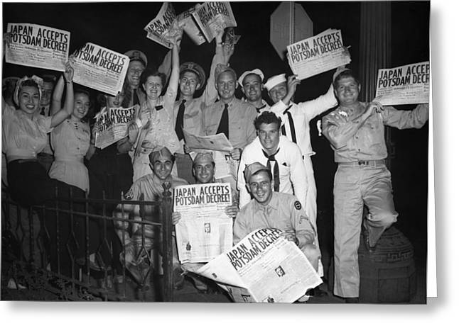 Outdoor Theater Greeting Cards - Wwii: Japan Surrender, 1945 Greeting Card by Granger