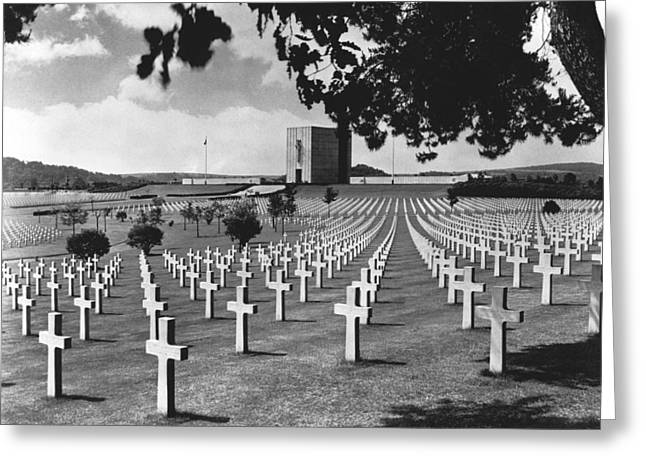 Wwii Lorraine Cemetery Greeting Card by Underwood Archives