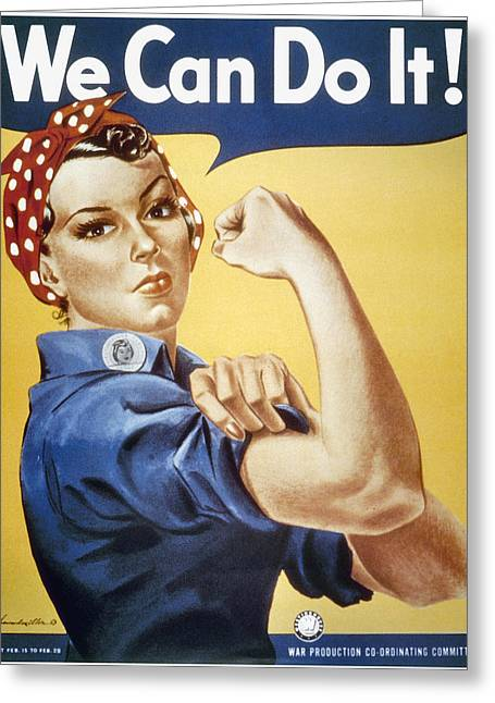 Can Do Greeting Cards - Wwii: Rosie The Riveter Greeting Card by Granger