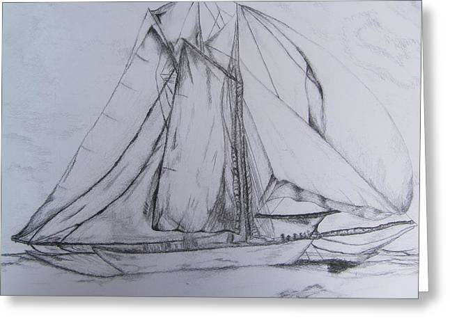 Wild Life Drawings Greeting Cards - WWII Schooner Brilliant Modification Greeting Card by Debbie Nester